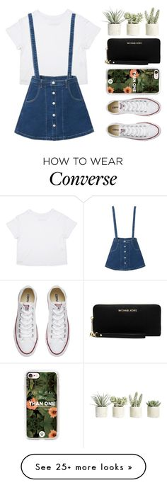 """""""A-line"""" by lexi-loves-fashion on Polyvore featuring Allstate Floral, WithChic, Converse, Casetify, MICHAEL Michael Kors, Summer, chic, overalls, succulents and canvasshoes"""