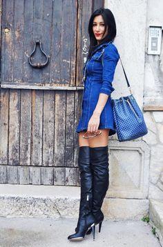 Blue denim minidress and black OTK boots
