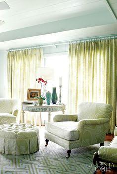 like the greek key trim on table  House of Turquoise: John Oetgen