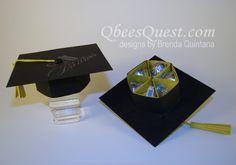 Qbee's Quest: Hershey's Graduation Cap Tutorial Candy Crafts, 3d Paper Crafts, Paper Crafting, Paper Gifts, Kirigami, Graduation Crafts, Graduation Ideas, 3d Templates, Chocolates