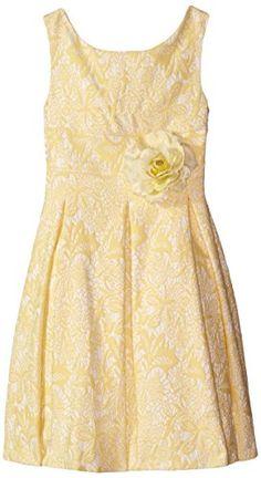 Kleinfeld Pink Little Girls' Jocelyn Lace Jacquard Box Pleat Dress, Yellow/White, 5 Kleinfeld Pink