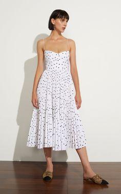 Pamela Polka-Dot Flocked Cotton Dress by Khaite Casual Dresses, Summer Dresses, Formal Dresses, Women's Dresses, Dress Skirt, Dress Up, Shirt Dress, Cotton Dresses, Pretty Dresses