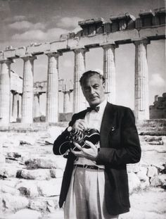 EVGENIA GL Screen legend Gary Cooper with his camera in hand in Acropolis,Athens, Greece Gary Cooper, Margaret Mitchell, Scarlett O'hara, Parthenon Athens, Famous Photographers, Celebrity Photographers, Athens Greece, Mykonos Greece, Crete Greece