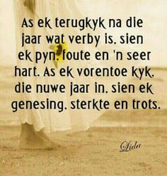 As ek terugkyk x As ek vorentoe kyk Motivational Quotes For Life, True Quotes, Inspirational Quotes, Words To Live By Quotes, Wise Words, Afrikaanse Quotes, New Year Wishes, Faith In Love, Special Quotes
