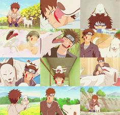 Just can't get enough of him and cute Akamaru <3