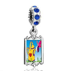 Pugster Blue Sapphire Swarovski Crystal Dangle Gardening Water Bucket Photo Frame Bead Fits Pandora Charms Chamilia Biagi Bracelet Pugster. $16.49. Weight (gram): 3.8. Color: Sapphire. Metal: Silver Tone. Size (mm): 9.42*2.6*27.54