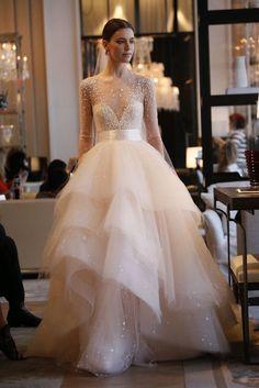 Boho Anna Vestidos De Novia A Line Scoop Neck Long Sleeves Elie Saab Bride Gowns Layered Tulle Wedding Dresses Robe De Mariage(China (Mainland))
