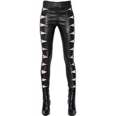 SAINT LAURENT Zip Cutout Stretch Nappa Leather Pants ($2,754) ❤ liked on Polyvore featuring pants, bottoms, pantaloni, legs, black, black trousers, stretch trousers, zipper pants, zip pants e black zipper pants