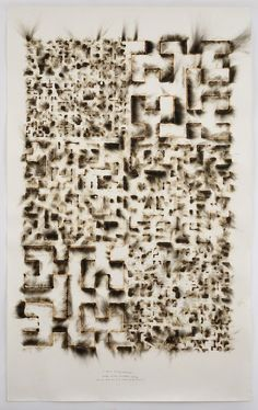 Artist of the Day   Jitish Kallat  Wind Study (Hilbert Curve),  2016 Burnt adhesive, aquarelle pencil and graphite on paper 90 × 55 1/8 in