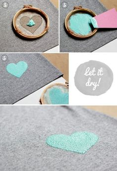 Mini serigrafia- Screen printing with embroidery hoop Cute Crafts, Crafts To Do, Arts And Crafts, Diy Crafts, Do It Yourself Baby, Do It Yourself Fashion, Diy Projects To Try, Craft Projects, Space Projects