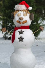 Build a snowman using various wild bird foods; a great project for the kids!