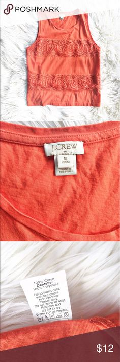 "J. Crew lace overlay tank top Pretty coral tank with lace overlay stripes. Size medium petite from J. Crew Factory. Flat measurements are bust: 19"", waist/ 19"", length: 23.5"". J. Crew Factory Tops Tank Tops"