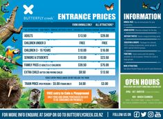 INFO - Pricing, Map, Hours - Butterfly Creek Interest Groups, Butterfly House, Free Education, 15 Years, Farm Animals, Map, 15 Anos, Location Map, Maps