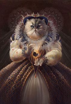 Philadelphia-based illustrator Christina Hess has reimagined cats and dogs as famous historical figures. Her series, entitled 'Animals. I Love Cats, Crazy Cats, Reine Art, Images Victoriennes, Famous Historical Figures, Queen Art, Gatos Cats, Animal Books, Here Kitty Kitty