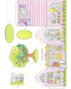 Free Printable Easter Bunny Candy Factory House for kids Moldes Halloween, Easter Printables, Up Book, Halloween Photos, Paper Houses, Christmas Makes, Paper Tags, Vintage Easter, Easter Crafts
