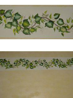 """cenefa de hojas pintadas a mano, técnica de """"one stroke"""""""