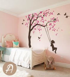 Tree decal with swings and birds Large nursery tree vinyl wall art Wall Mural sticker Kids room decor Nature Tree wall tattoo - Tree decal with swings and birds Large by TheAmeliaDesigns -
