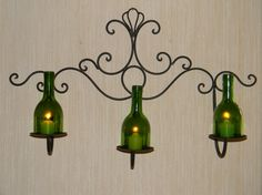 Elegant Three Candle Wine Bottle Iron Wall by CabernetLights