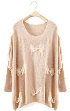 """Check out """"Beige Long Sleeve Lace Bow Pullovers Sweater - Sheinside.com"""" Decalz @Lockerz.com"""