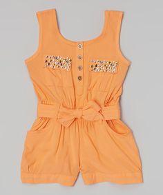 Loving this Orange Rhinestone Romper - Infant, Toddler & Girls on #zulily! #zulilyfinds
