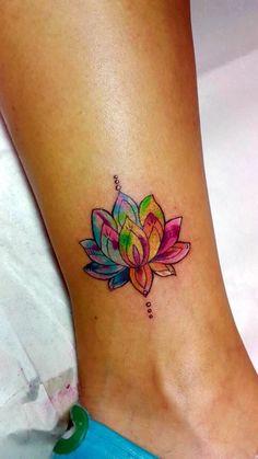 lotus flower tattoo on foot
