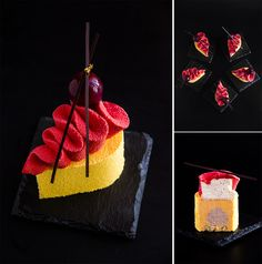 """Individual cake """"Elania"""". Composition: coconut daquoise; exotic mousse with citrus fruits; light strawberry mousse; wipped vanilla ganache with mascarpone and strawberry jelly for decorations."""