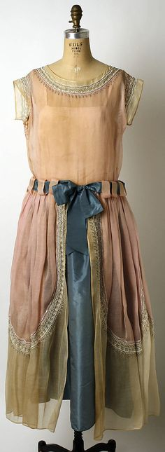 Lanvin Dress - 1922 - House of Lanvin (French, founded 1889) - Design by Jeanne Lanvin (French, 1867-1946) - Cotton, silk, glass, metal
