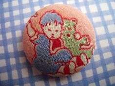 Vintage 1940s Children Playing Fabric Covered Button