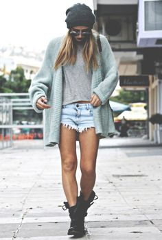 Loving all baggy knit and Denim short combos. Fashion • model • beach outfit • boots