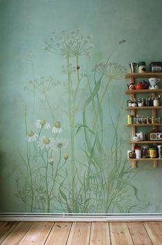 Küchengestaltung, Küchenmalerei, atelier Wandlungen, berlin, Blumenmalerei, Wiesenmalerei, wallpainting
