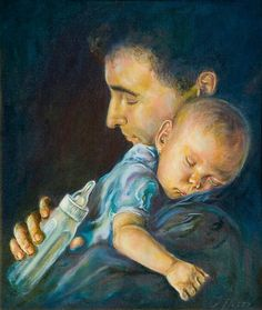 """""""Fatherhood and the Plan of Salvation Through His Son, Jesus Christ, God created the heavens and the earth. At this time you lived with… Baby Painting, Love Painting, Painting For Kids, Art For Kids, Father And Baby, Mother And Child, Old Paper Background, Baby Canvas, Painting People"""