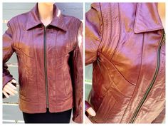 Excited to share this item from my #etsy shop: Sz 38 70s Leather Moto Jacket w Warmer Insert by Wild West Show Cognac Brown Fat Collar Epaulettes Western Wear Unisex MOD Ochre Hipster