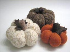 Set of Fabric Pumpkins / Sweater Pumpkins / Handmade by mmwolters, $39.00