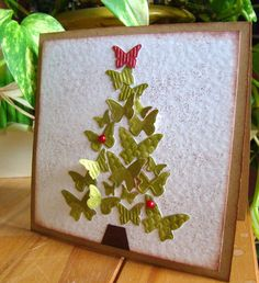 #CHRISTMAS TREE OF BUTTERFLIES CARD