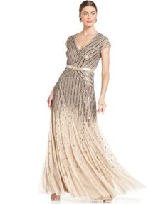 Adrianna Papell Cap-Sleeve Beaded Sequined Gown | macys.com