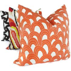 Love these colors for the sofas. $50 Trina Turk Persimmon Arches Designer  Indoor Outdoor Pillow Cover, Schumacher, 18x18, 20x20,22x22