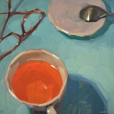 """I Cant See My Tea"" - Original Fine Art for Sale - © Carol Marine"