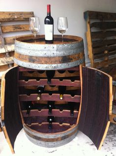 No room for a wine cellar? Discover some DIY wine storage ideas right now. Barrel Projects, Diy Projects, Woodworking Projects, Barris, Wine Barrel Furniture, Tapas Bar, Rack Design, Wine Storage, Storage Ideas