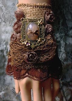 Gypsy boho bohemian glamour cuff by pinkabsinthe on Etsy Steampunk Costume, Steampunk Fashion, Boho Fashion, Steampunk Gloves, Gothic Steampunk, Bohemian Gypsy, Gypsy Style, My Style, Hippie Style