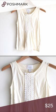 Deletta Ivory Crochet Front Knit Top Anthropologie Sleeveless, off white tank from Anthropologie. White crochet detailing on chest. Loose fit through body. EUC Anthropologie Tops Tank Tops