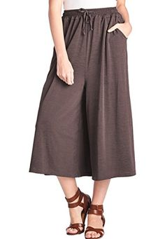 Special Offer: $19.99 amazon.com Material: Polyester 95% Spandex 5%Waist Tie String, Crop Length, Wide Leg, Culottes Pants, Palazzo Pants, Pockets each sideOne Size Fits All with Super Stretchable Elastic Band! Recommended for Waist Size 22″~32″Quality of waist band is superb....