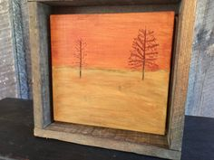 Minimalist Art, Fall Home Decor, Landscape, Trees, Autumn, Orange Decor, Hand Engraved Wood, Thanksgiving, Mantle, Shelf, Cabin, Office