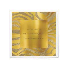 Zebra Animal Skin Safari African Mustard Gold Paper Napkin