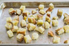 "The first time my husband had one of my homemade croutons he said, ""WOW. Now that is a crouton worth eating. It's like a soft biscuit of crunchiness instead of a hard rock. How To Make Croutons, Crouton Recipes, Piece Of Bread, How To Double A Recipe, Salted Butter, Recipe Using, Recipe Box, Pinterest Recipes, Soup And Salad"