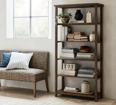The Mateo Collection has a weathered, distressed finish with rough-sawn detailing and a Salvaged Black finish that brings warmth and character to your home. The Mateo Wide Bookcase is a sm… Pottery Barn Bookcase, Reclaimed Wood Bookcase, Salvaged Doors, Bookcase With Drawers, Wide Bookcase, Bookcases, Apartment Bookshelves, Bedroom Bookcase, Office Bookshelves