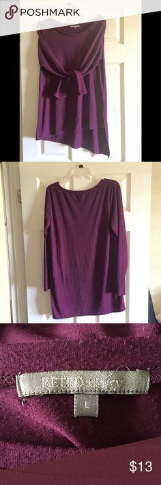 Ladies top, long sleeve Ladies long sleeve , longer in back, beautiful rich burgundy color, soft. Never worn, great buy!  Large RETRO-ogy Tops Tunics