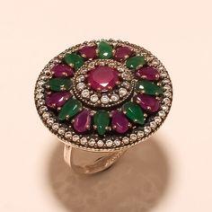 Ottoman Handmade Turkish Emerald Ruby Gemstone 925 Sterling Silver Pendant Gift Engagement & Wedding