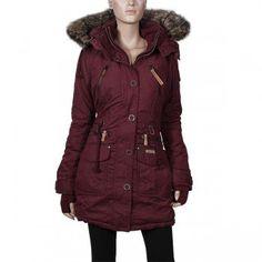 Khujo Clammy Damen Winter Mantel weinrot taillierter – warmer Damenparka