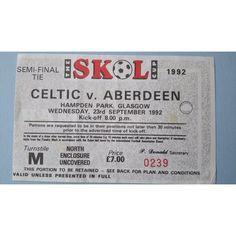 Celtic v Aberdeen Football Ticket Stub 23/09/1992 Semi Final Skol Cup Listing in the Scottish Club Leagues & Cups,Ticket Stubs,Football (Soccer),Memorabilia & Fan Store,Sport Memorabilia & Cards Category on eBid United Kingdom