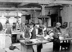 Packing tea in London 1910. Note the child labor also at work on the benches. A succession of laws on child labour, the so-called Factory Acts, were passed in Britain in the 19th century. Children younger than nine were not allowed to work, those aged 9–16 could work 16 hours per day per Cotton Mills Act. In 1856, the law permitted child labour past age 9, for 60 hours per week, night or day. In 1901, the permissible child labour age was raised to 12.